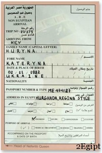 миграционная карта в египет
